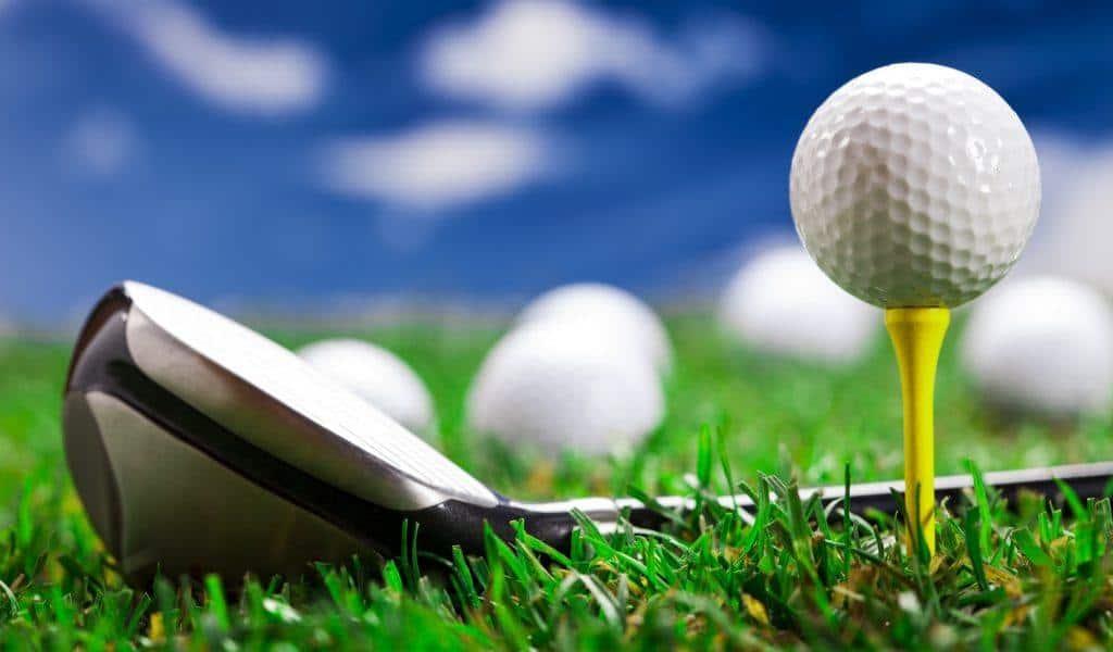 Golf ball on the green gras
