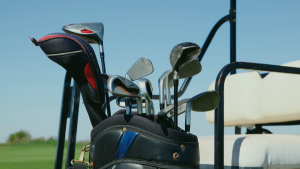 golf clubs in cart